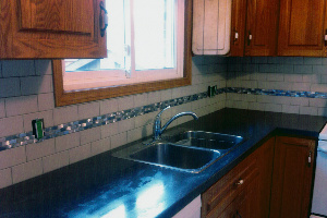 Decorative tiles in kitchen